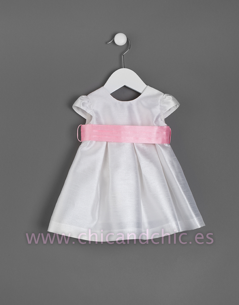 b209d75e8 Vestido de bebe en seda poliéster. Crudo-rosa - chic chic