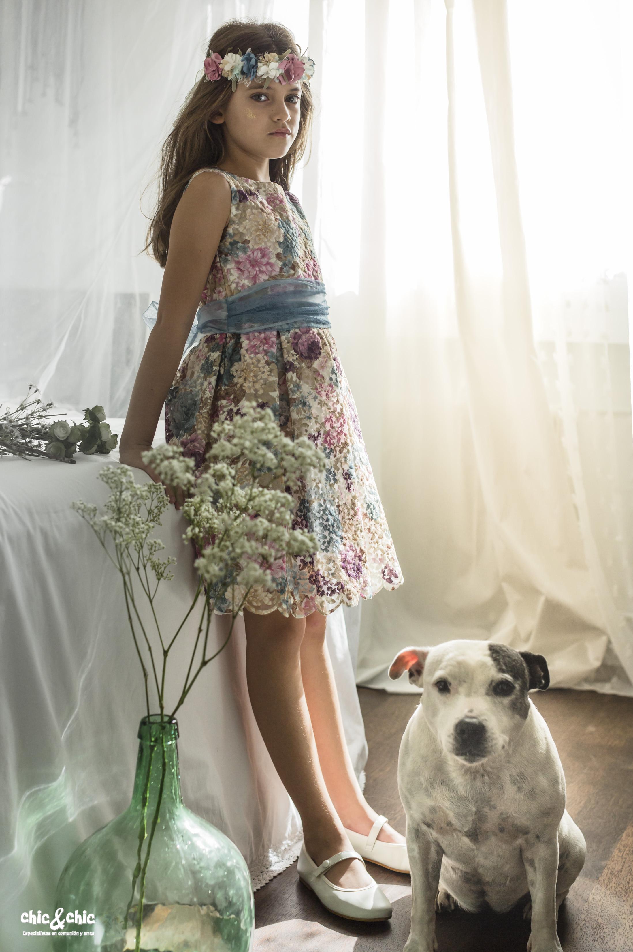 6d5533327 Vestido Adela organza estampada y bordada (2-14 Años) - chic chic