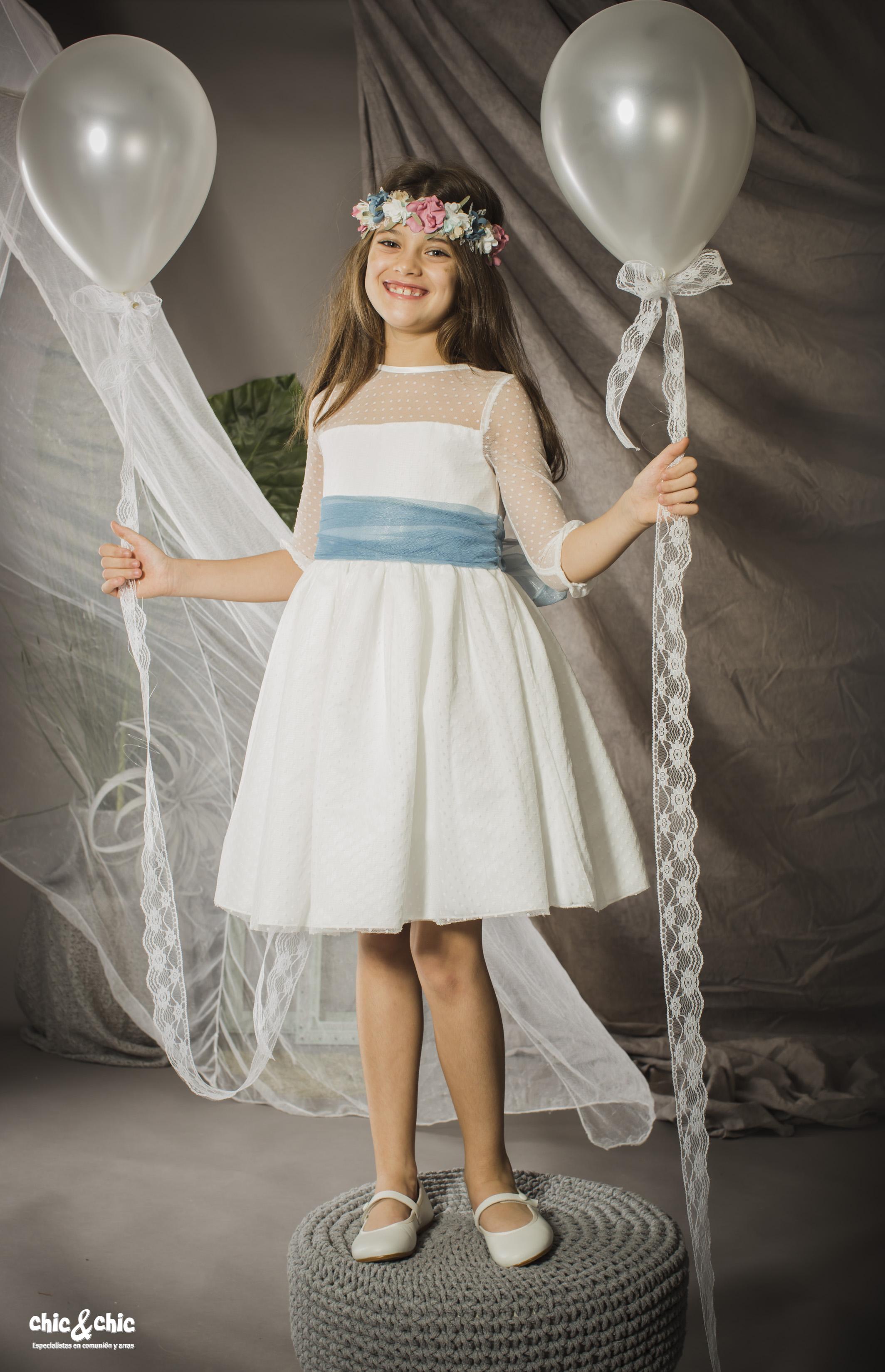 29dcc71f1 Vestido tul plumeti Alaya (1-14 Años). Blanco roto - chic chic