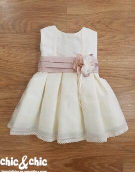 Vestido de bautizo 3441600 organza. Beige-rosa (3m-24m) e4c834f028d3