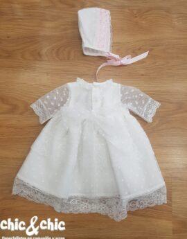 a0e56271d Vestido con capota tul bodoques 34428-C (6-24 meses)
