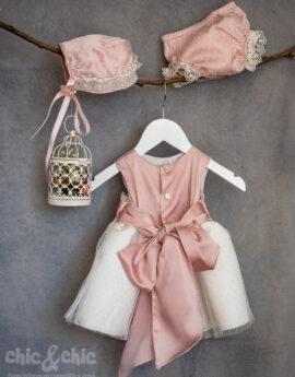 33b7ce595 Vestido bebe en tul plumeti alexa rosa. Capota y braga a parte. Crudo-rosa  (3m-24m)