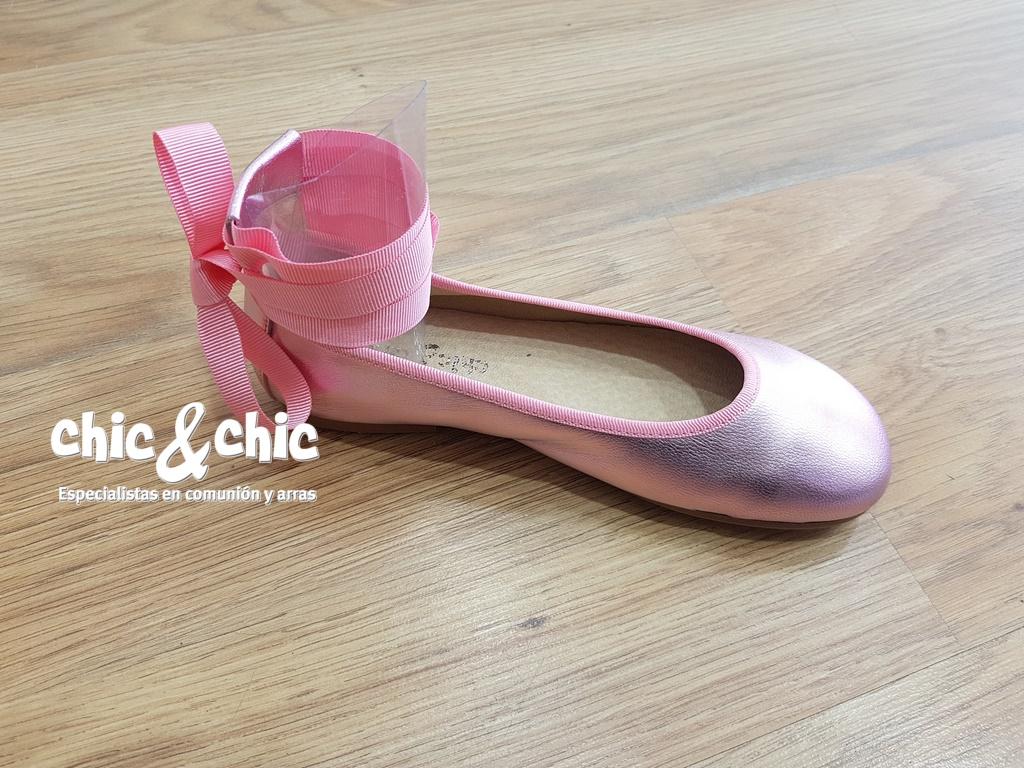1e05a3a4e52 Bailarina niña tiras. Color rosa metalizado. ...