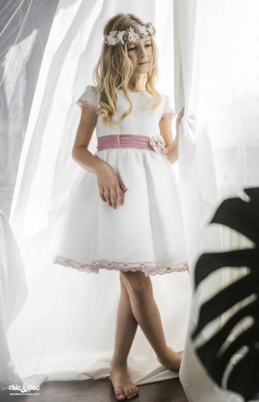 Vestido  Amanda crudo-rosa (2-14 Años)