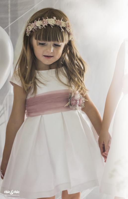 Vestido  Ania. Blanco roto-Rosa (2-14 Años)