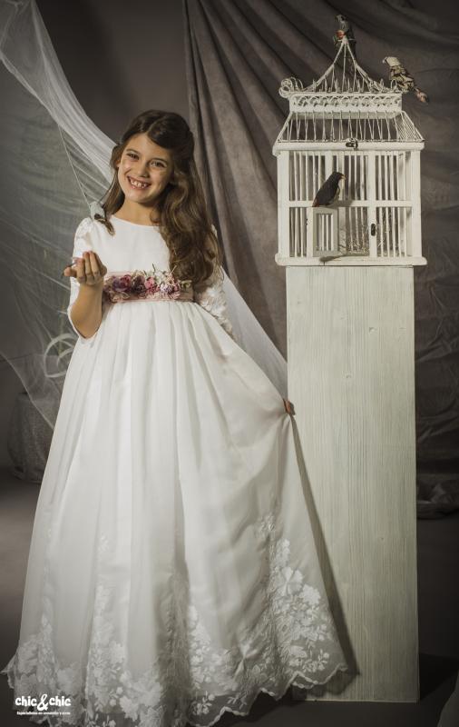 Vestido de comunión Adriana. Color blanco.