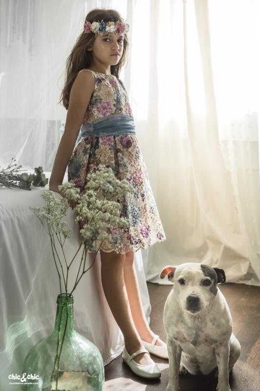 Vestido Adela organza estampada y bordada (2-14 Años)