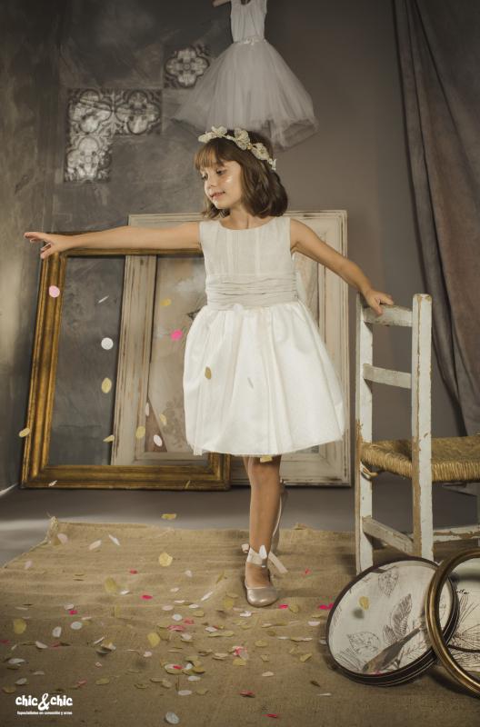 Vestido lino Angela (1-14 Años). Color tostado