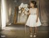 Vestido tul plumeti Alexa (1-14 Años). Blanco roto-tostado