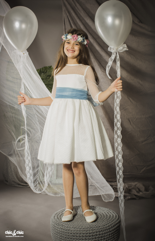 Vestido tul plumeti Alaya (1-14 Años). Blanco roto