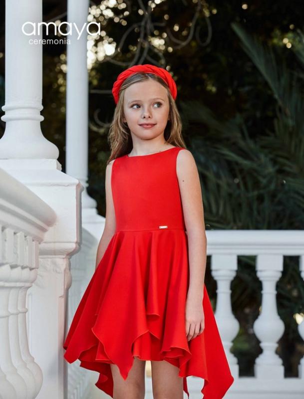 Vestido ceremonia 311687 . Color Rojo (4-20 Años)