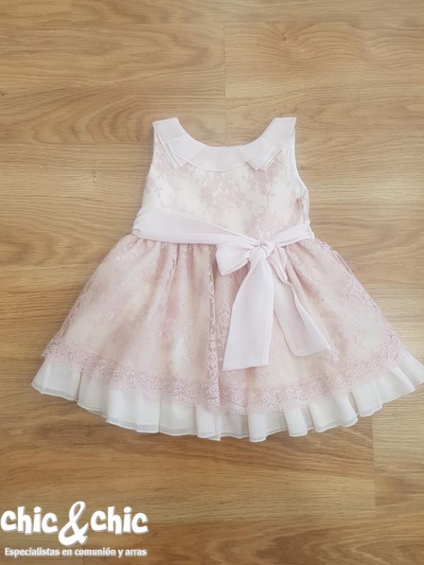 Vestido 3144600. Tul bordado rosa (2-12 Años)