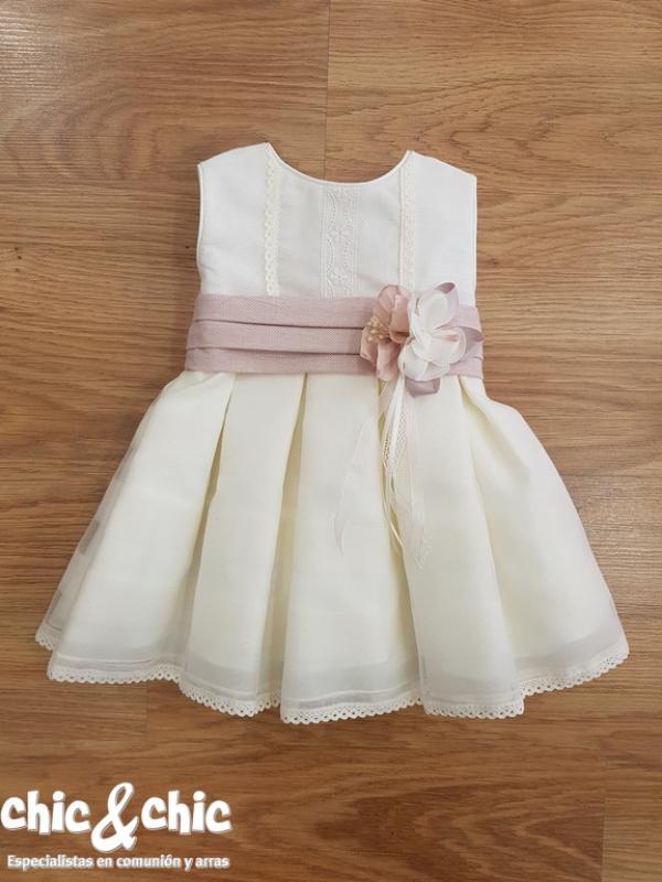 Vestido de bautizo 3441600 organza. Beige-rosa (3m-24m)
