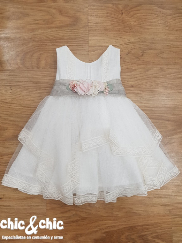 455cae3f6 Vestido de ceremonia 311219 bebe lino y tul - chic chic