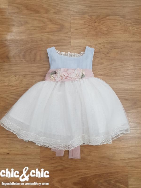 Vestido de ceremonia 311214 bebe lino y tul (6m-24m).