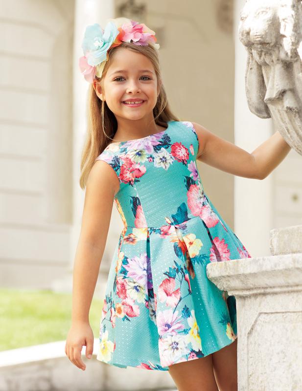Vestido 5032 (4-12 Años). Color Aguamarina
