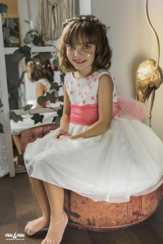 Vestido tul bordado Andrea (1-14 Años). Coral-Beige
