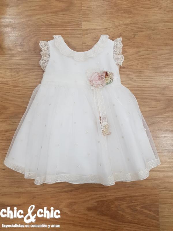 Vestido de ceremonia 311207 bebe  tul bodoques (6m-24m).