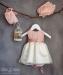 Vestido bebe en tul plumeti alexa rosa. Capota y braga a parte. Crudo-rosa (3m-24m)