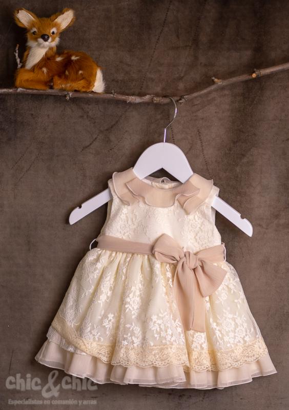 Vestido bebe 3441900 en tul bordado beige (6m-24m)