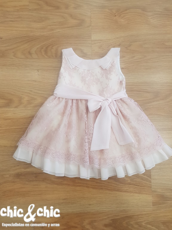 Vestido bebe 3441900 en tul bordado rosa (6m-24m)