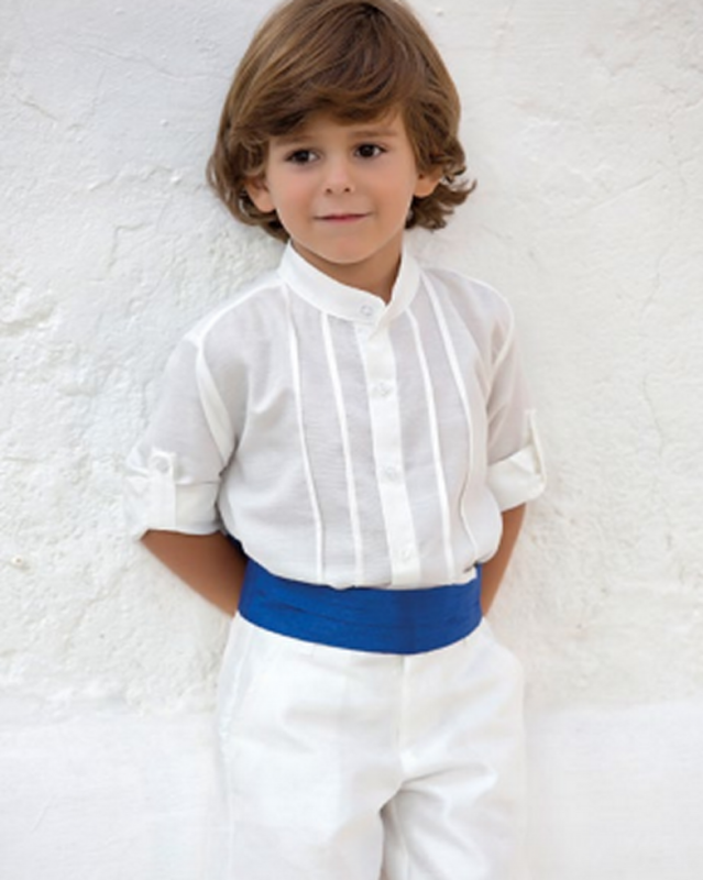 Conjunto de niño 311597 crudo-azulón. (Tallas 1-12 Años)