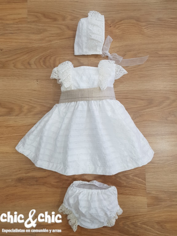 Vestido bebe rustico Abril. Capota y braga a parte. Crudo-rosa (3m-24m)