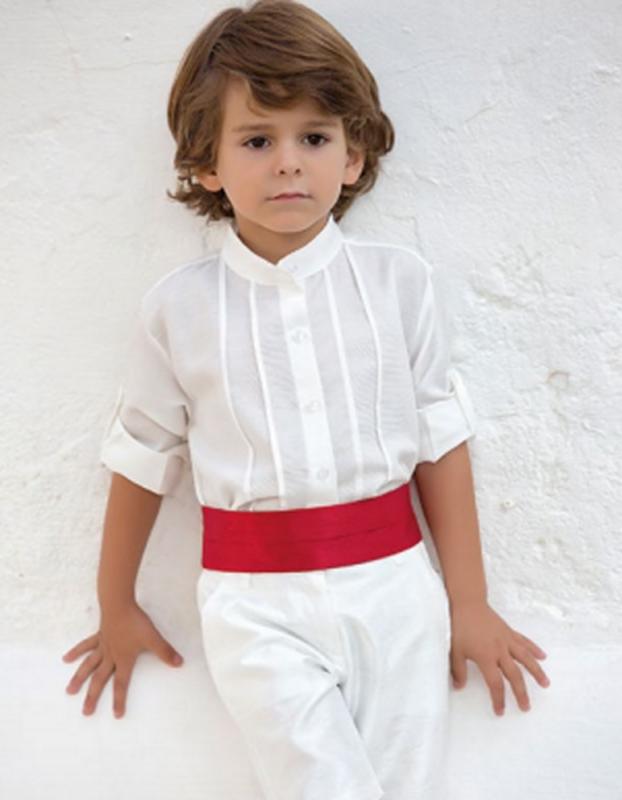 Conjunto de niño  311597 crudo-rojo. (Tallas 1-12 Años)