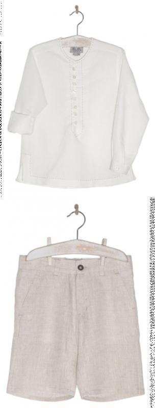 Conjunto lino camisa y pantalón cuello mao. Crudo-tostado.