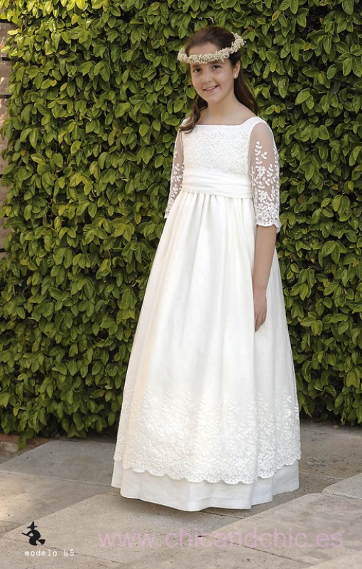 Vestido de comunión 065 en lino y tul