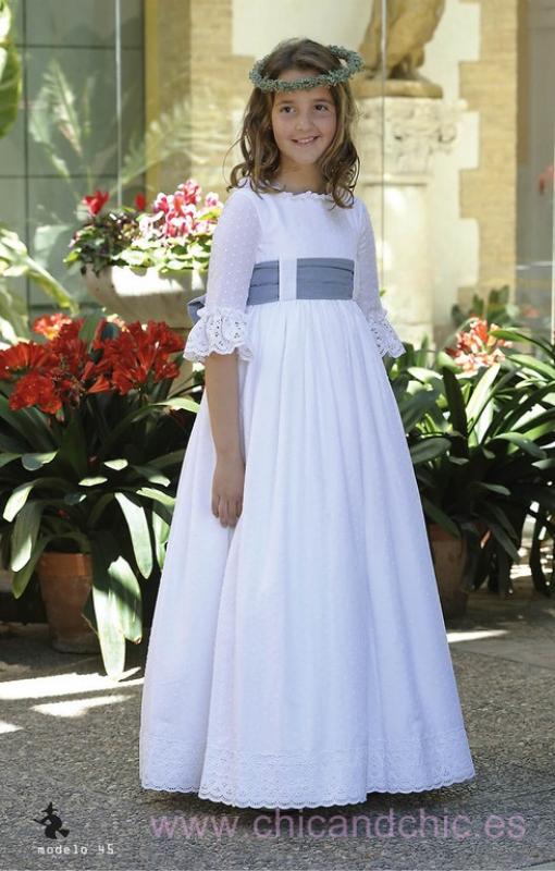 Vestido de comunión 045 plumeti algodón. Última talla 115 (10)