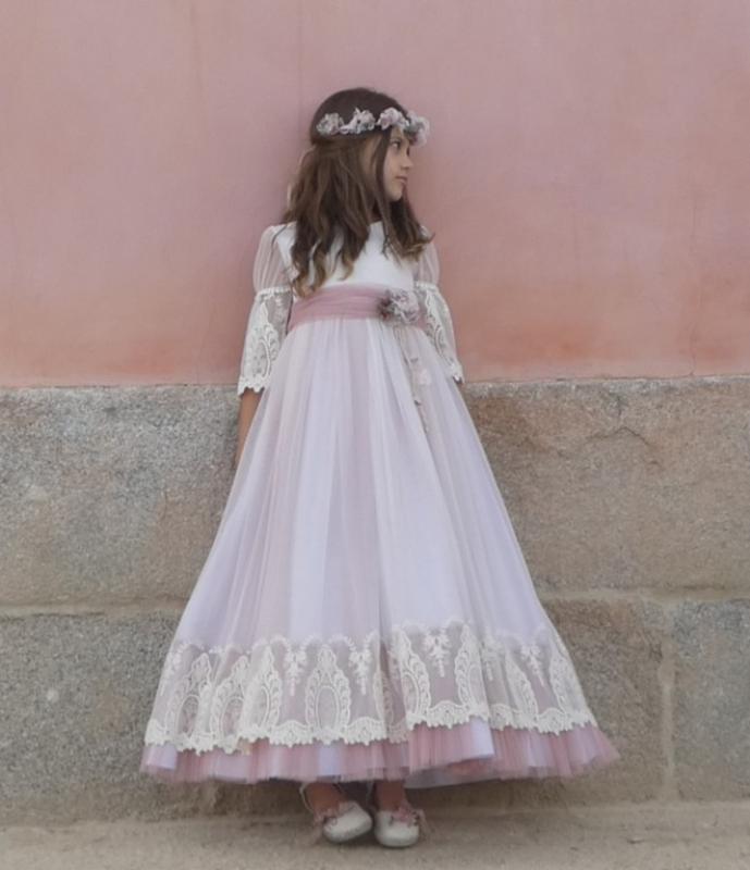 Vestido de comunión FLORENCIA. Color rosa.