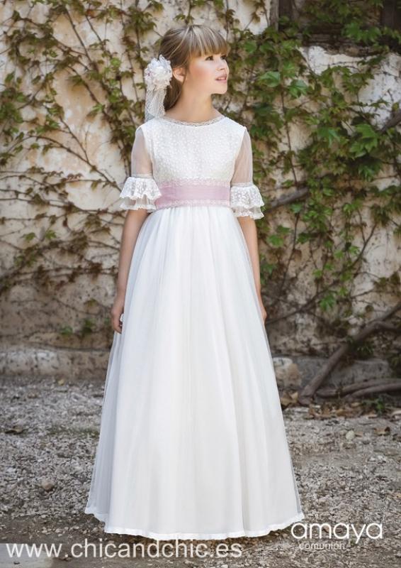 Vestido de comunión 517009MD . Color Crudo-Rosa.