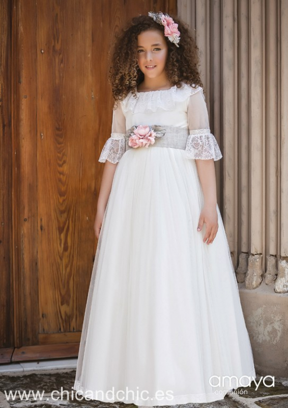 Vestido de comunión 517000MD . Color Crudo-tostado.