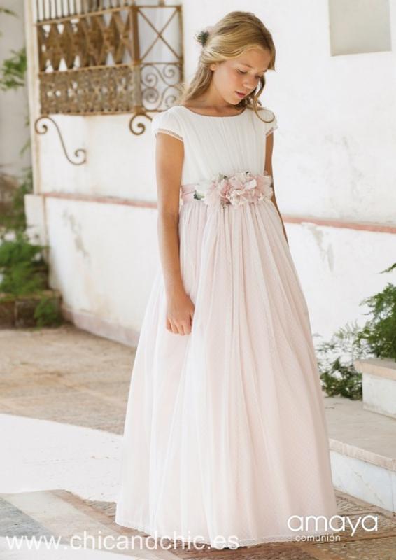 Vestido de comunión 517005MC. Color Crudo-rosa.