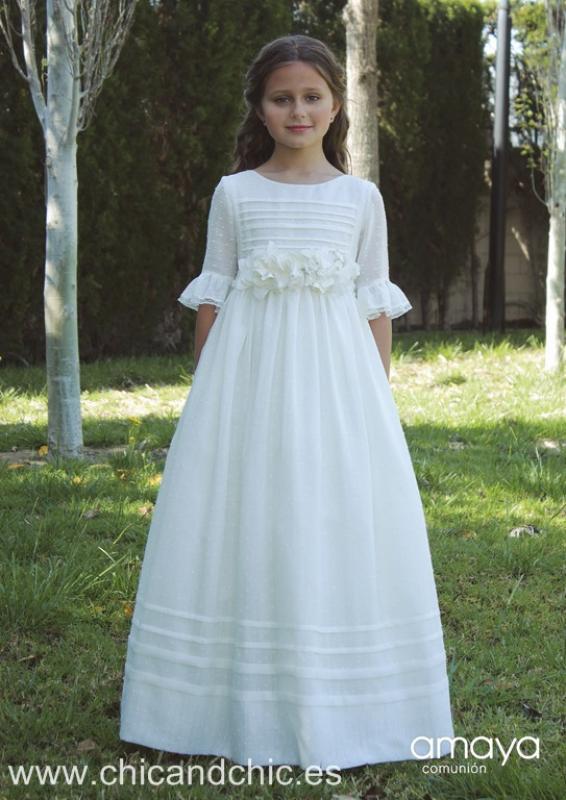 Vestido de comunión lino 517102MD . Color crudo. Última talla 10