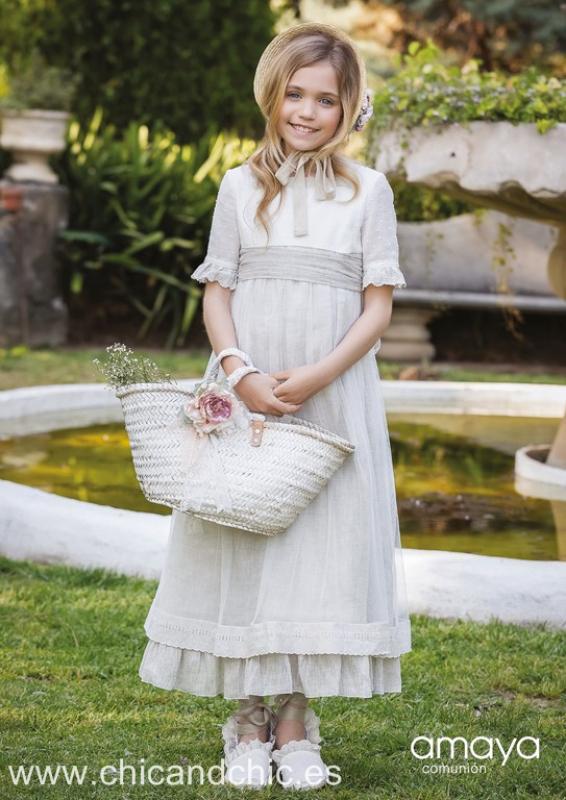 Vestido de comunión corto lino 517217MD . Última talla 10