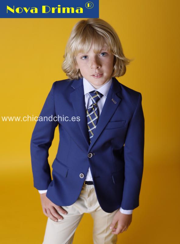 Conjunto niño P56C Z28 . Azul -Camel