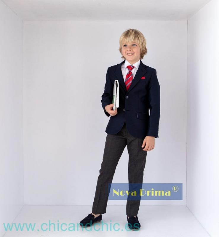 Conjunto niño COLEGIO P56 K14 . Azul marino-Gris.