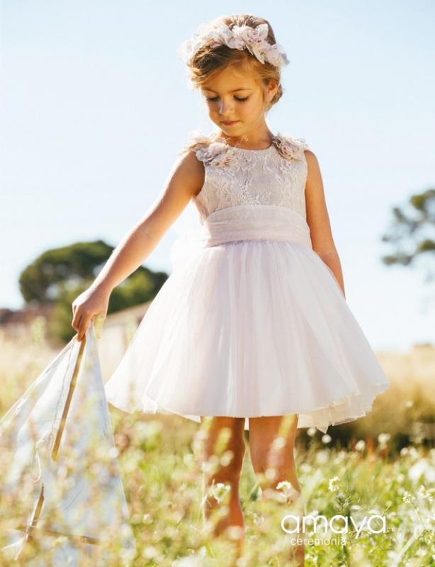 Vestido de ceremonia 513042SM. (1-12 Años) Tostado-Rosa