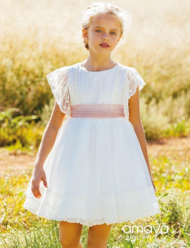 Vestido de ceremonia 513026MC. (1-12 Años) Crudo-rosa.