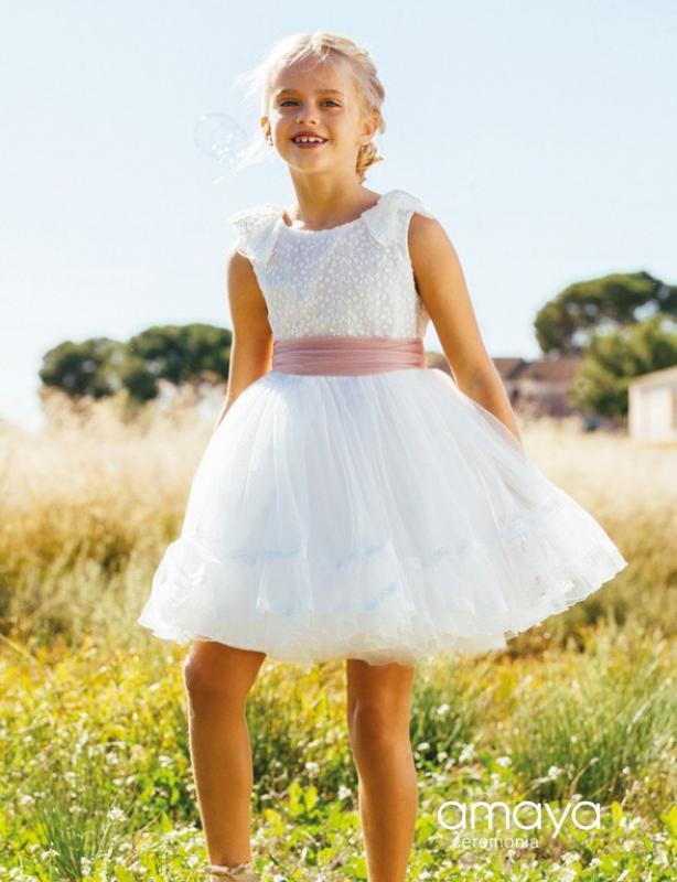 Vestido de ceremonia 513023 MC. (1-12 Años) Crudo-rosa