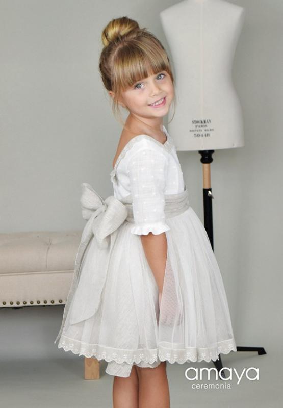 Vestido de ceremonia 513021 MC. (1-12 Años) Crudo-Tostado