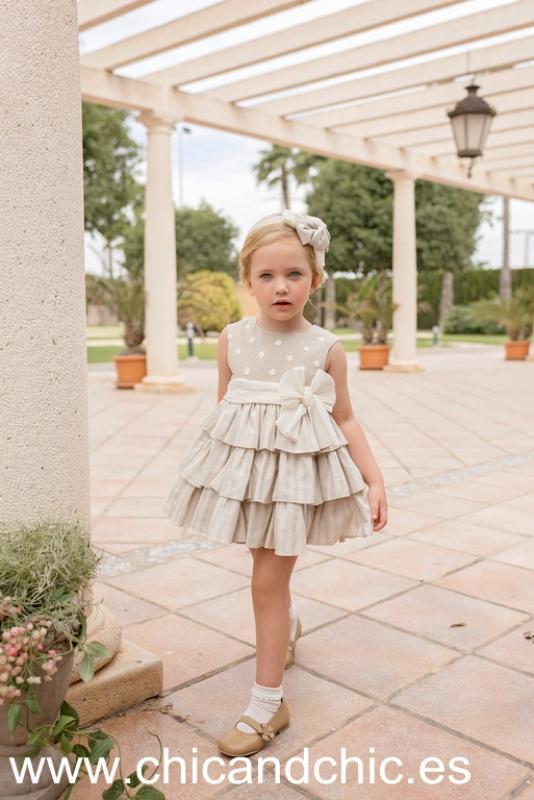 Vestido lino tostado. (2-6 Años)
