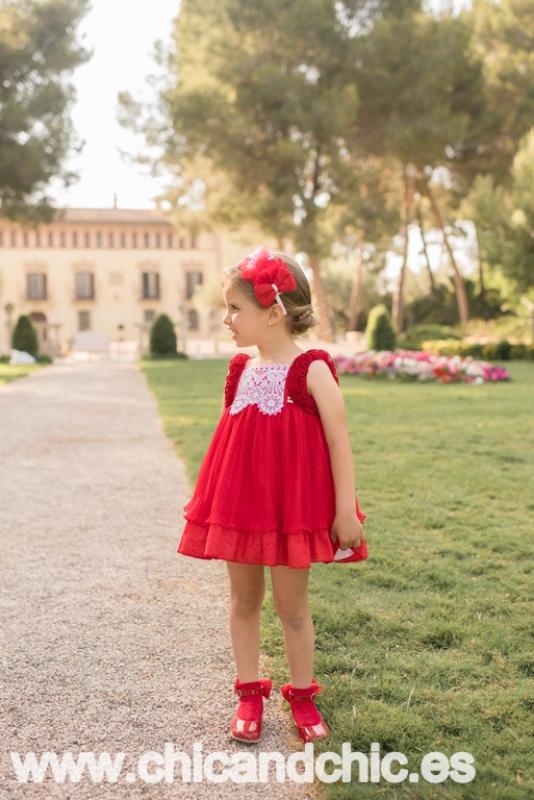 Vestido tul plisado rojo. (2-12 Años)