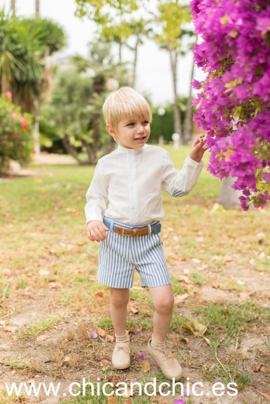 Conjunto de niño pantalón corto rayas (4-10 años)