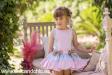 Vestido estampado azul y rosa. (4-12 Años)