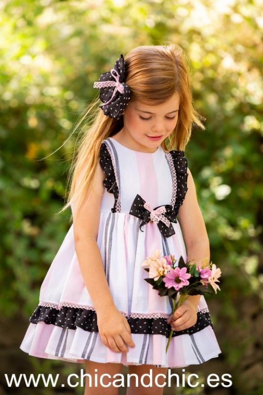 Vestido a rayas rosas y negras. (2-8 Años)