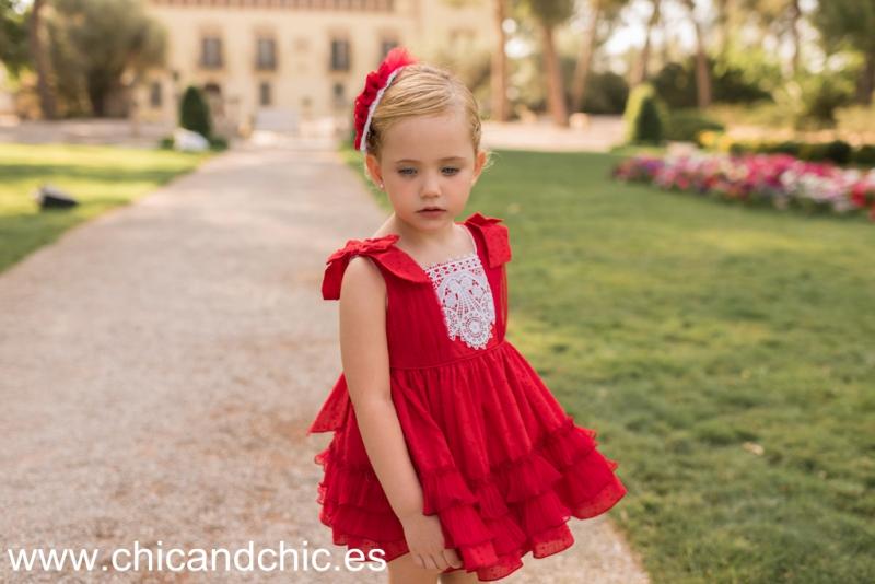 Vestido tul plumeti rojo. (2-12 Años)