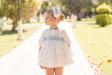 Vestido batista topos crudo-azul. (2-12 Años)